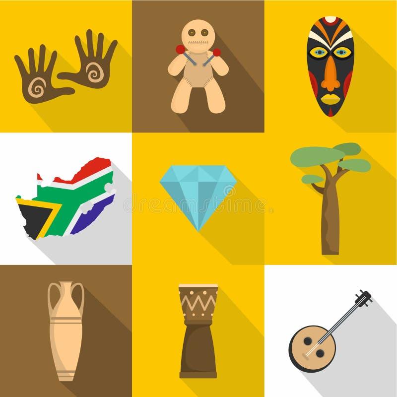 Afrika symbolsuppsättning, lägenhetstil royaltyfri illustrationer