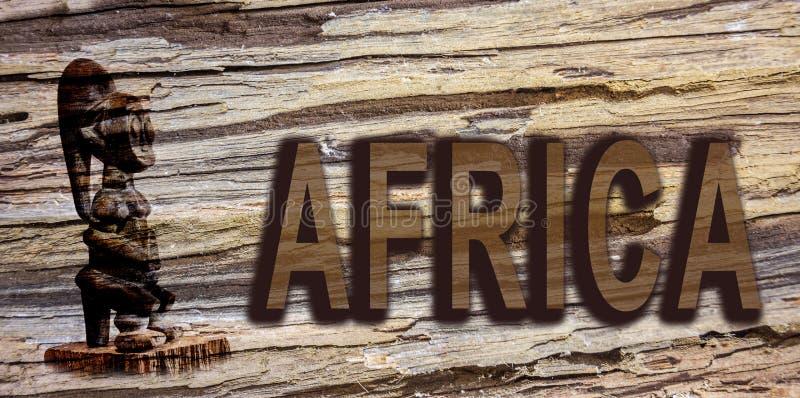 Afrika teckenbräde på trä stock illustrationer
