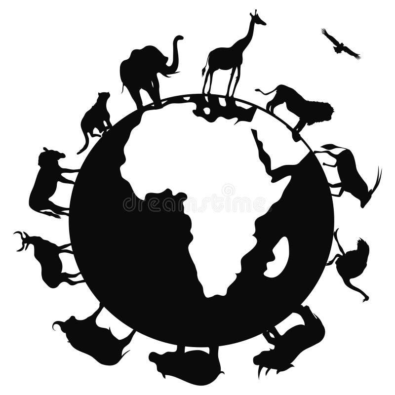 Afrika-Tier auf der ganzen Welt lizenzfreie abbildung