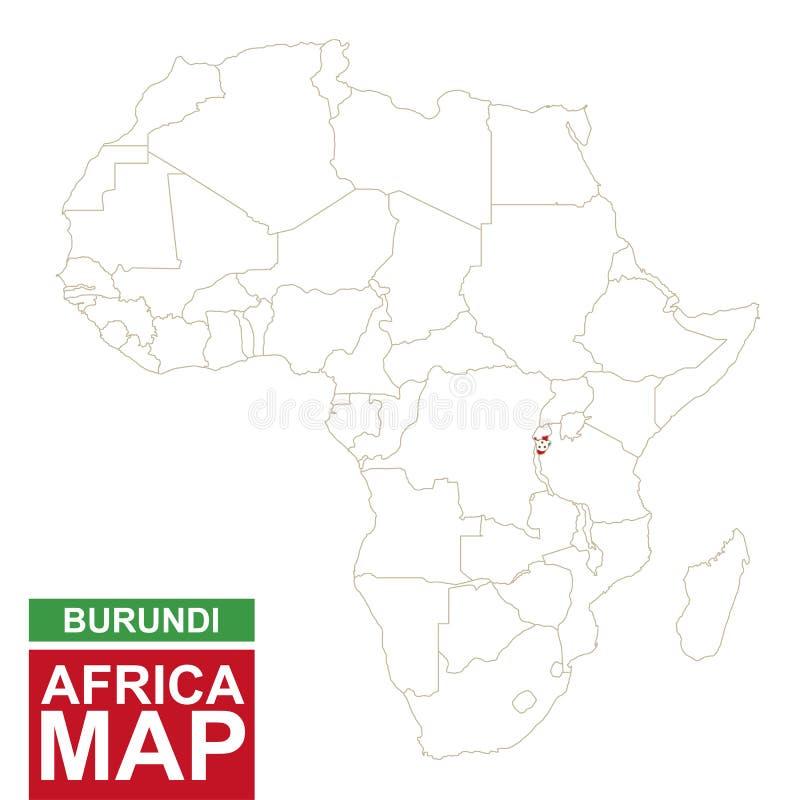 Afrika van de contouren aangegeven kaart met benadrukt Burundi stock illustratie