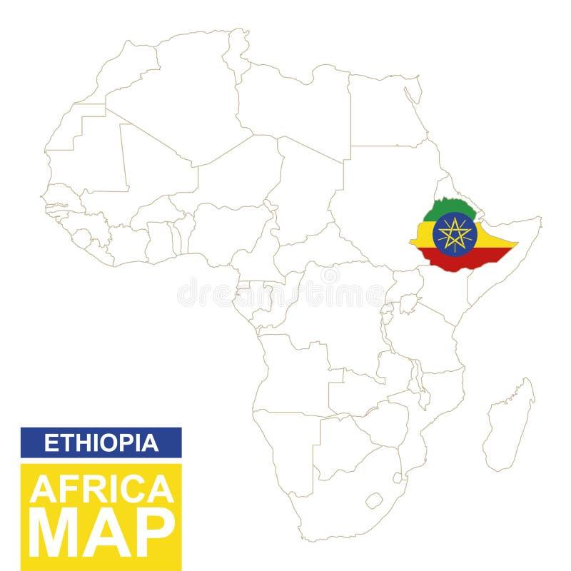 Afrika van de contouren aangegeven kaart met benadrukt Ethiopië stock illustratie