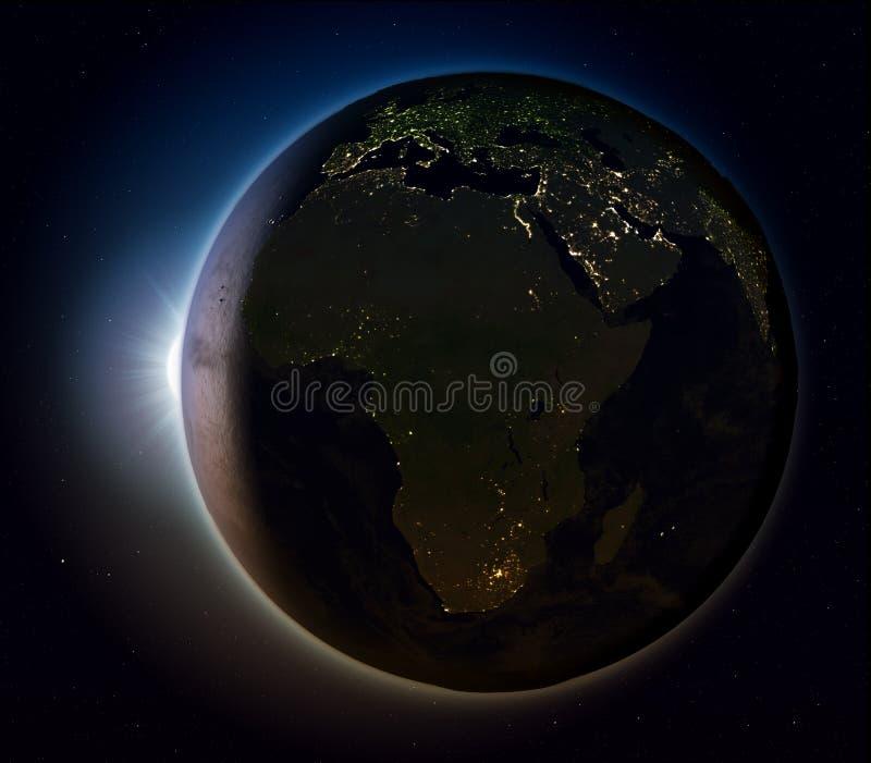 Afrika van ruimte bij nacht stock illustratie