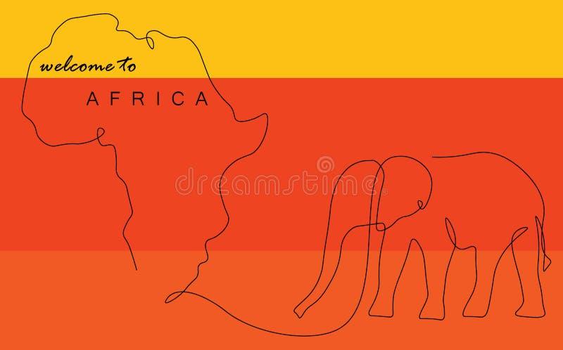 Afrika-Weltkarte mit Federzeichnungsvektor des Elefanten einer vektor abbildung