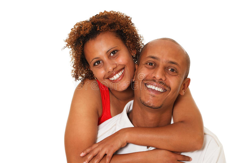 Afrikaans Amerikaans die Paar op Wit wordt geïsoleerd stock foto's