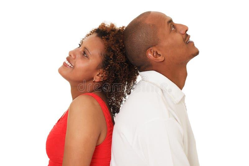 Afrikaans Amerikaans die Paar op Wit wordt geïsoleerd stock afbeelding