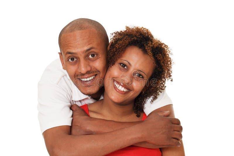 Afrikaans Amerikaans die Paar op Wit wordt geïsoleerd royalty-vrije stock foto