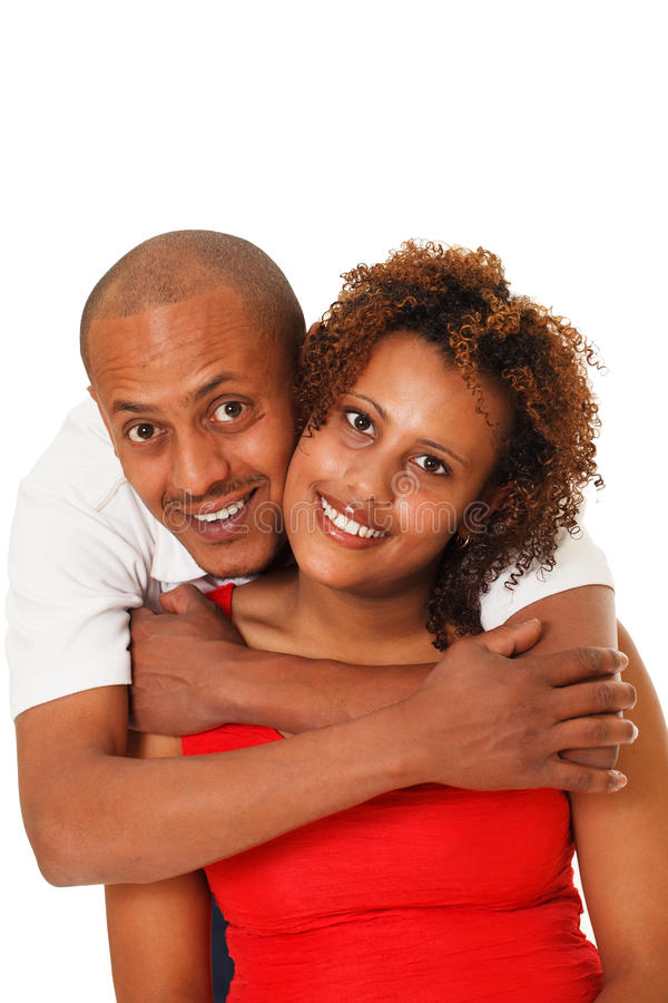 Afrikaans Amerikaans die Paar op Wit wordt geïsoleerd royalty-vrije stock afbeelding