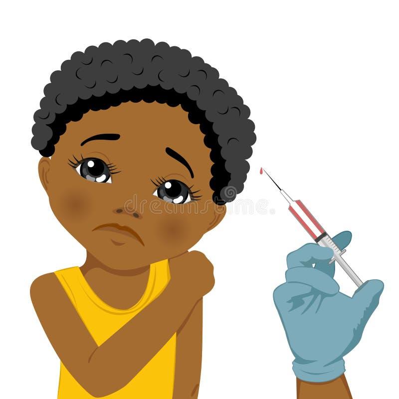 Afrikaans Amerikaans droevig meisje die een vaccinbeleid krijgen stock illustratie