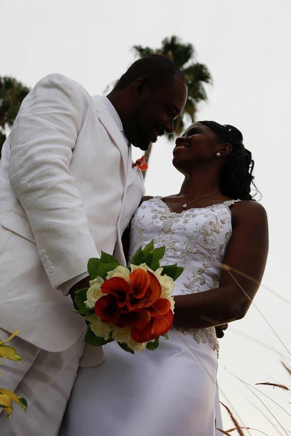 Afrikaans Amerikaans huwelijkspaar stock foto