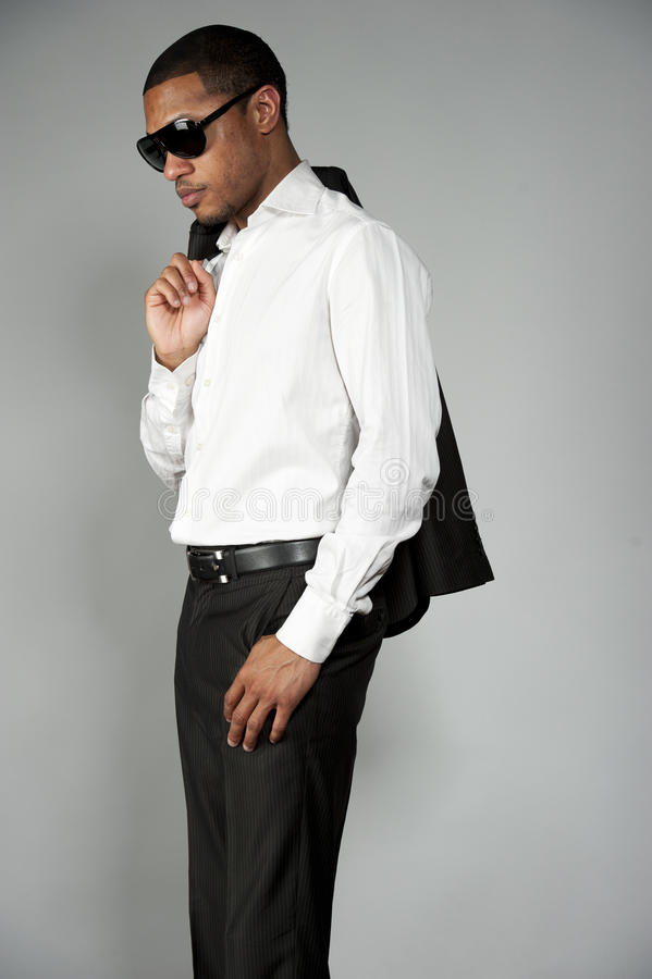 Afrikaans Amerikaans Mannetje in een Kostuum stock afbeeldingen