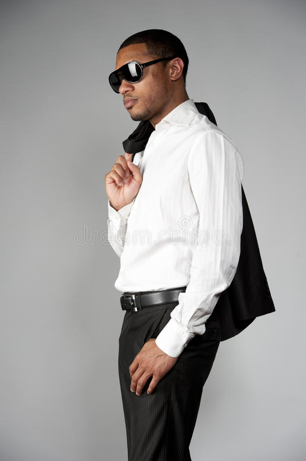 Afrikaans Amerikaans Mannetje in een Kostuum royalty-vrije stock foto's
