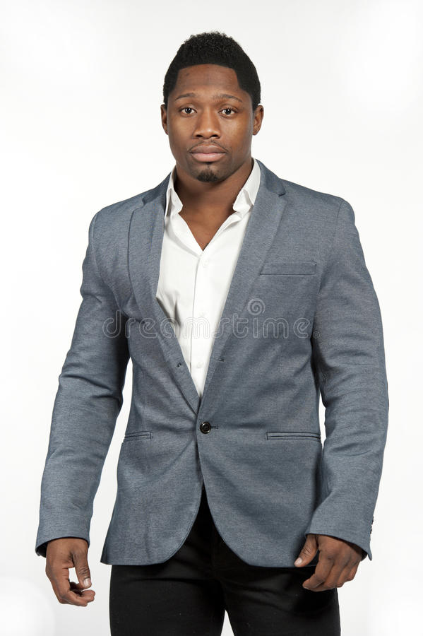 Afrikaans Amerikaans Mannetje in Gray Suit royalty-vrije stock afbeeldingen