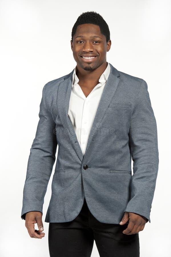 Afrikaans Amerikaans Mannetje in Gray Suit stock foto
