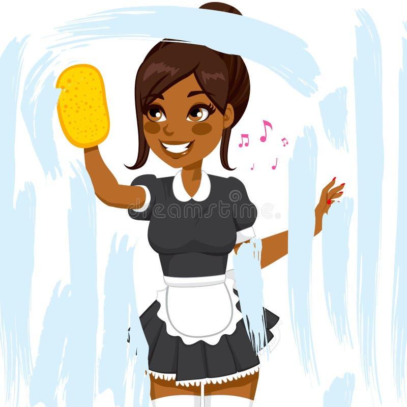 Afrikaans Amerikaans Meisje Cleaning Window vector illustratie