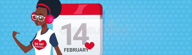 Afrikaans Amerikaans Meisje over van de de Valentijnskaartendag van de Kalenderpagina de Gelukkige Horizontale Banner van Greeing vector illustratie