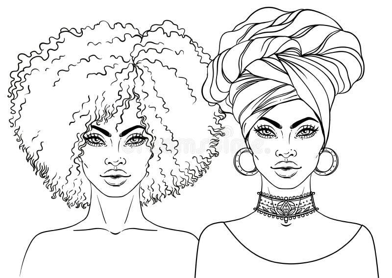 Afrikaans Amerikaans mooi meisje Vectorillustratie van Zwarte royalty-vrije illustratie