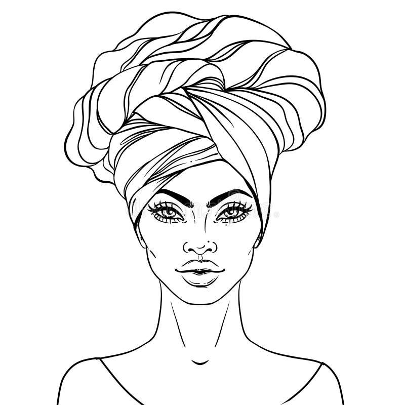 Afrikaans Amerikaans mooi meisje Vectorillustratie van Zwarte vector illustratie