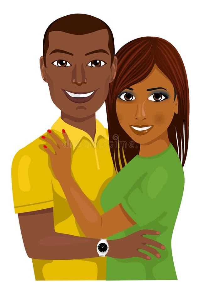 Afrikaans Amerikaans paar die samen koesteren stock illustratie