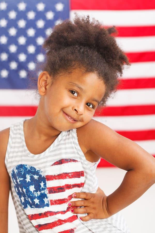 Afrikaans-Amerikaans patriottisch meisje royalty-vrije stock afbeeldingen