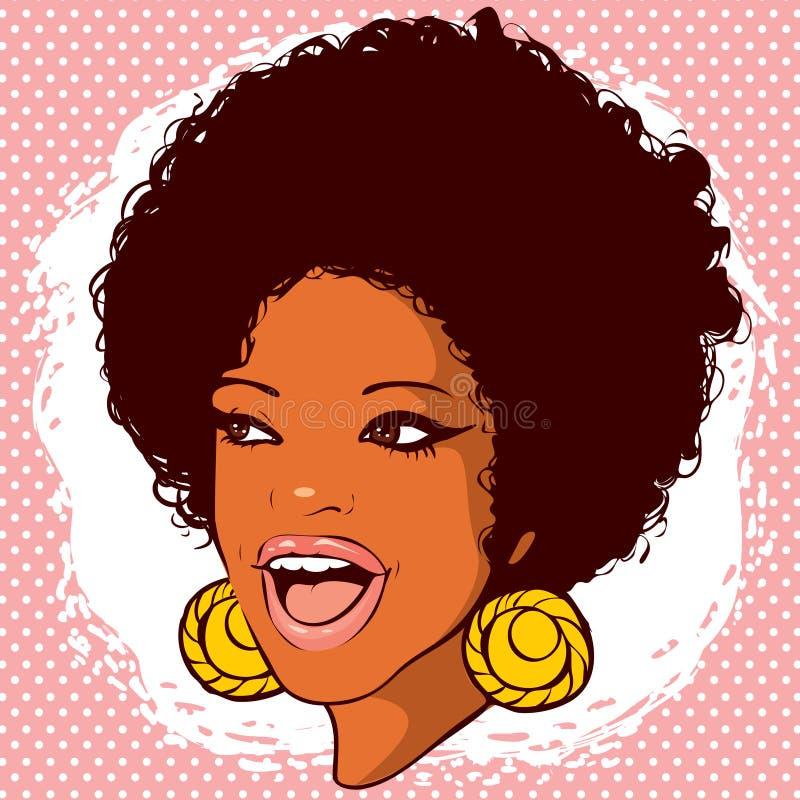 Afrikaans-Amerikaanse vrouw met haar in de stijl van disco en glimlach stock afbeeldingen