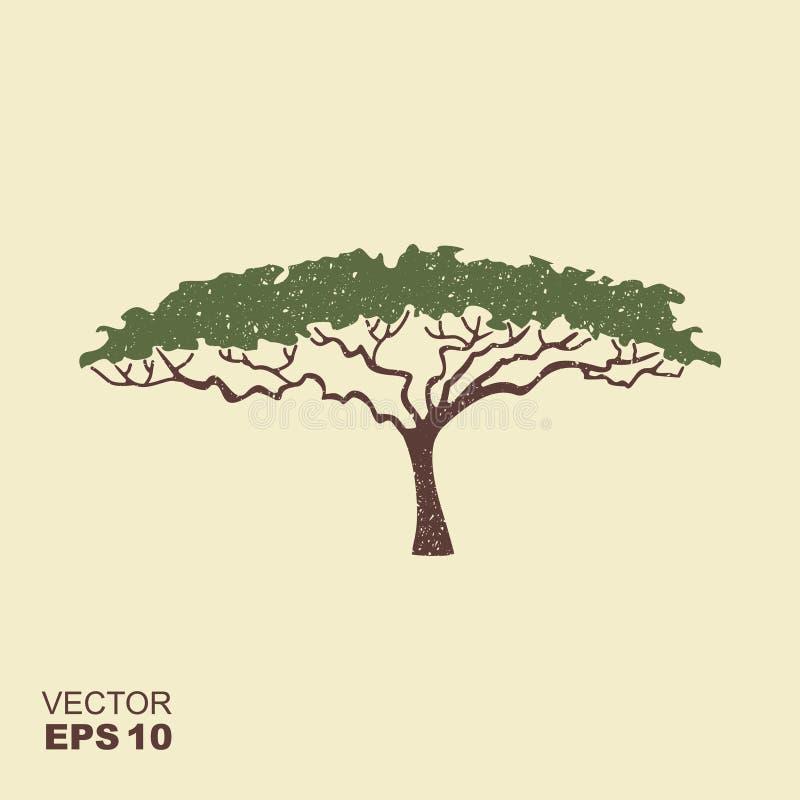 Afrikaans boompictogram, het silhouet van de acaciaboom Pictogram met geschaafd effect vector illustratie