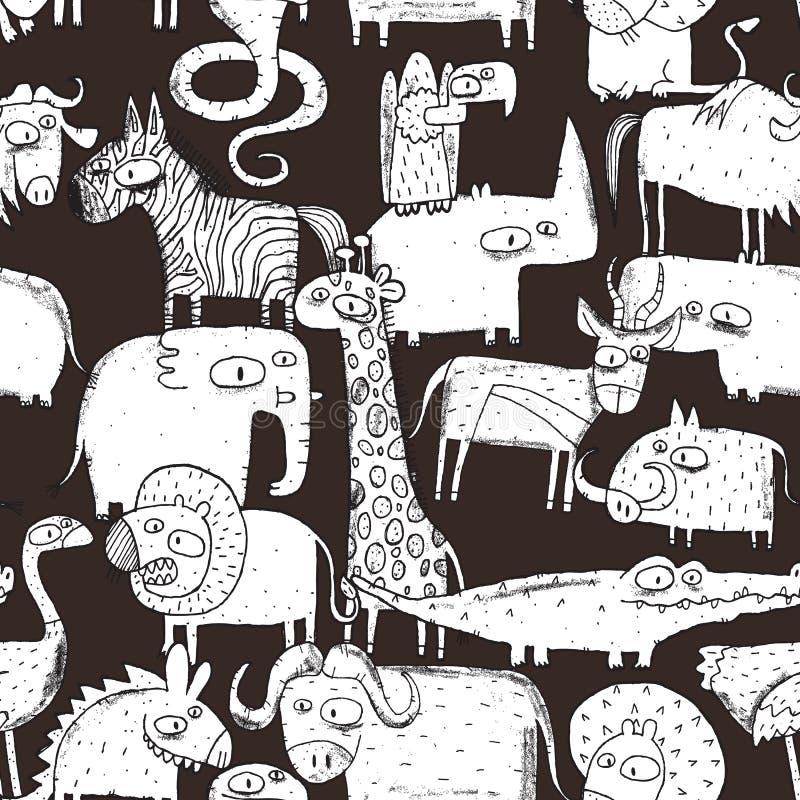 Afrikaans Dieren Naadloos Patroon royalty-vrije illustratie