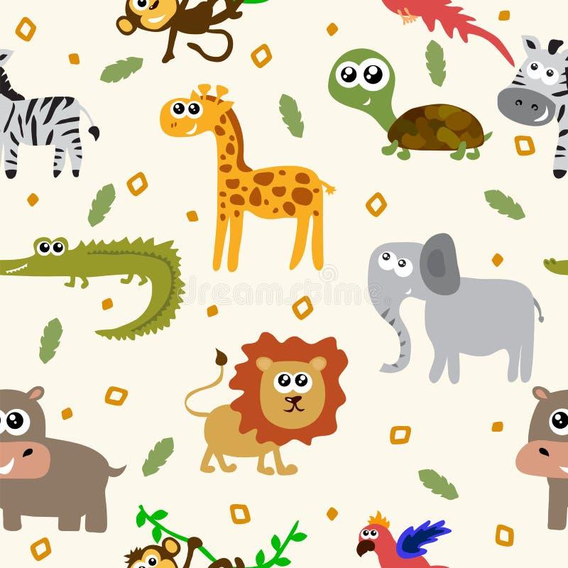 Afrikaans Dieren Naadloos Patroon Beeldverhaal kinderachtige dieren royalty-vrije illustratie