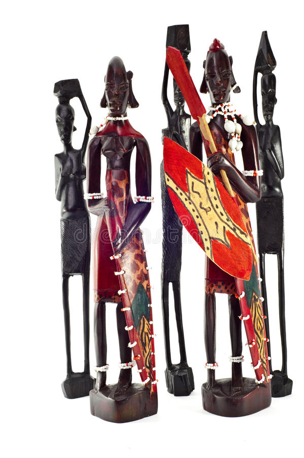 Afrikaans ebbehouten hout 2 van standbeelden royalty-vrije stock foto