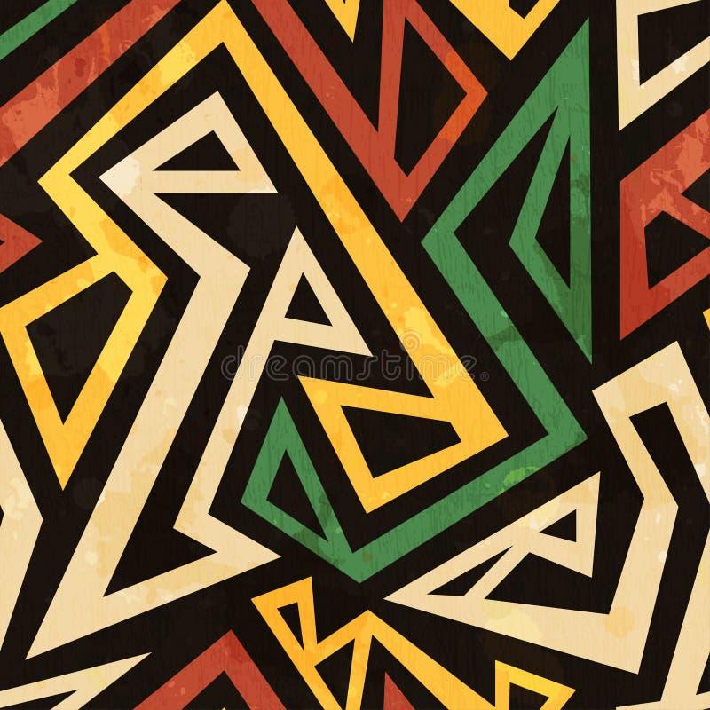 Afrikaans geometrisch naadloos patroon met grungeeffect stock illustratie