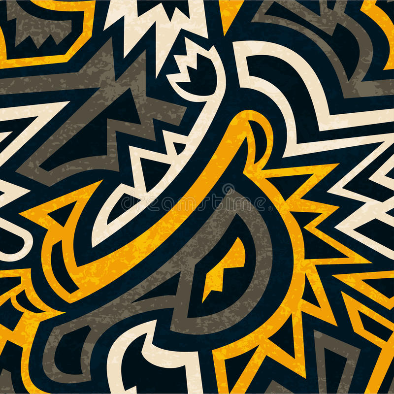 Afrikaans geometrisch naadloos patroon met grungeeffect vector illustratie
