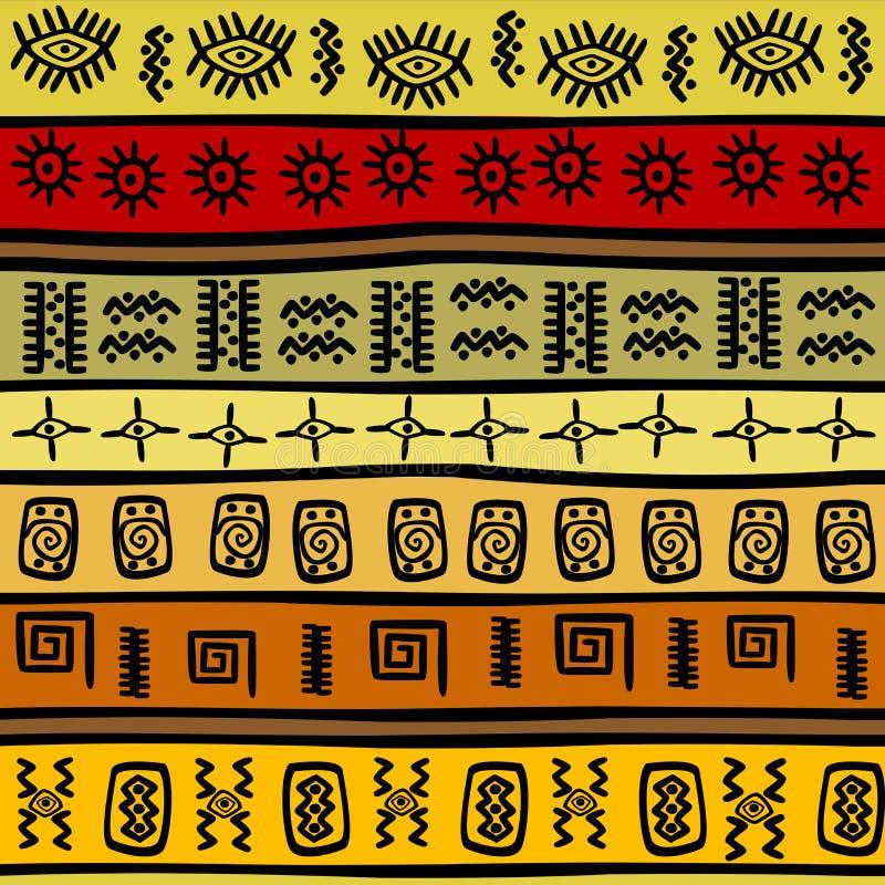 Afrikaans hand-drawn etnisch patroon, stammenbackgrou stock illustratie