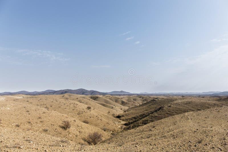Afrikaans landschap, de Woestijn van Kalahari, Namibië stock afbeelding
