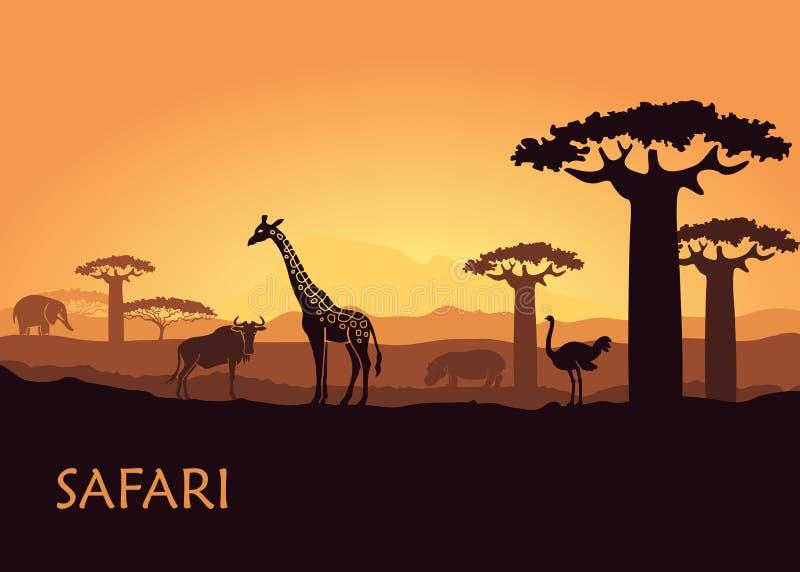 Afrikaans landschap met wilde dieren royalty-vrije illustratie