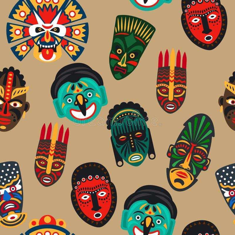 Afrikaans masker naadloos patroon stock illustratie