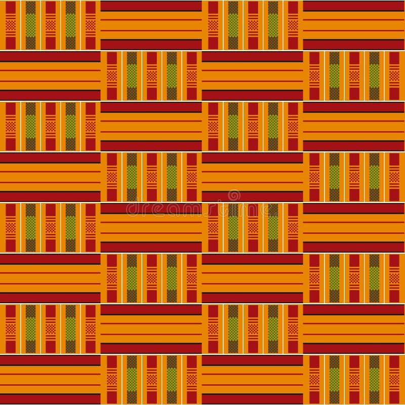 Afrikaans naadloos patroon Doek kente Stammendruk royalty-vrije illustratie