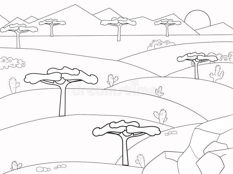 Afrikaans savanne kleurend boek Achtergrondaard Woestijnvector stock illustratie