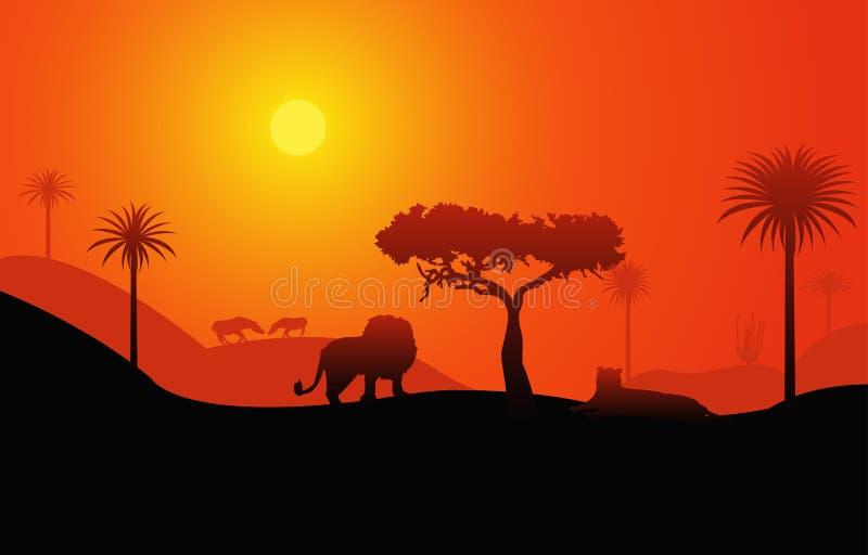 Afrikaans savannelandschap royalty-vrije illustratie