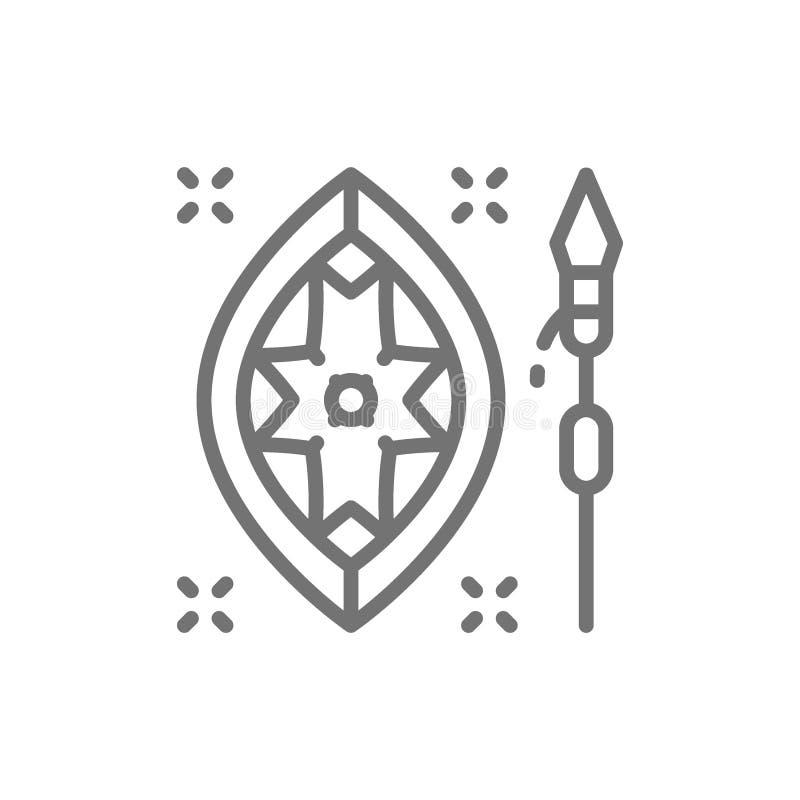 Afrikaans spear en schildlijnpictogram royalty-vrije illustratie
