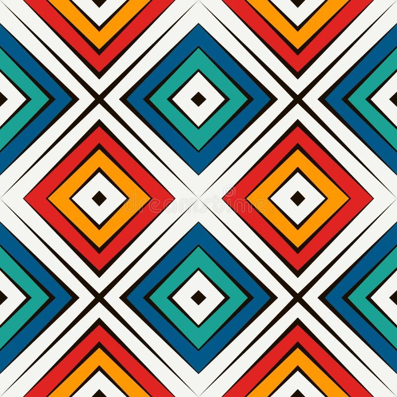 Afrikaans stijl naadloos patroon in heldere kleuren Etnisch en stammenmotief Herhaalde ruiten abstracte achtergrond vector illustratie