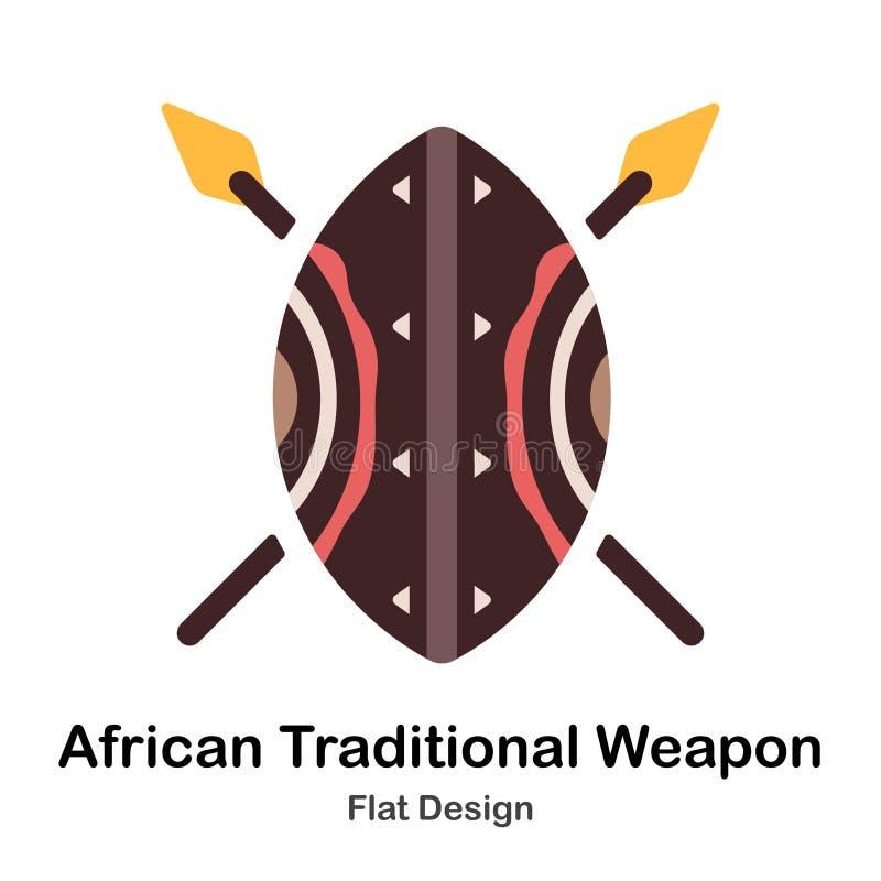 Afrikaans Traditioneel Wapen Vlak Pictogram royalty-vrije illustratie