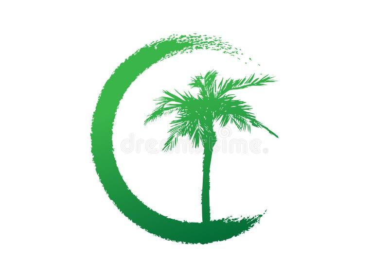 Afrikaans Tropisch palm groen embleem, de boomsilhouet van het palmpictogram, groen bio de ecologieconcept van de aardsafari, bio royalty-vrije illustratie