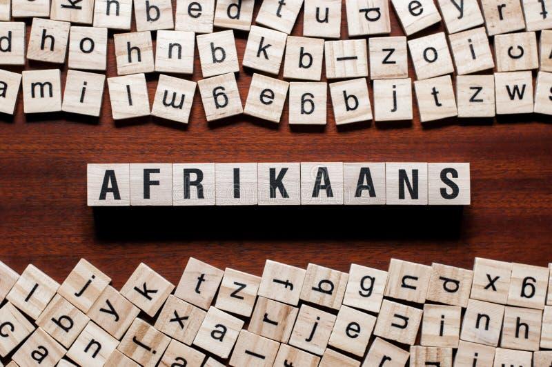 Afrikaans woordconcept op kubussen stock foto's