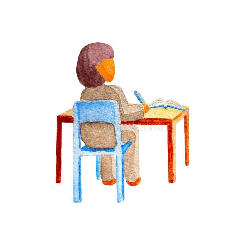 Afrikaans zwart slim meisjesschoolmeisje in klaslokaalzitting bij haar houten bureau en het leren Concept terug naar school royalty-vrije stock foto