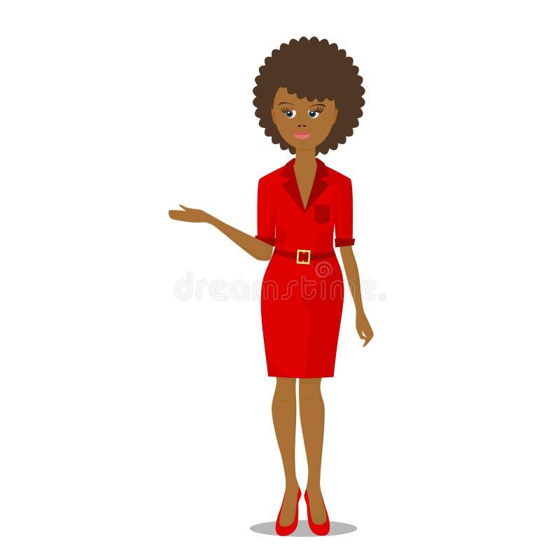 Afrikaans zwarte in rood stock illustratie