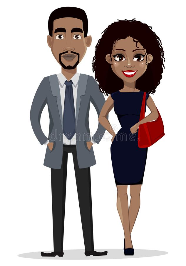 Afrikaanse Amerikaanse bedrijfsman en bedrijfsvrouw vector illustratie