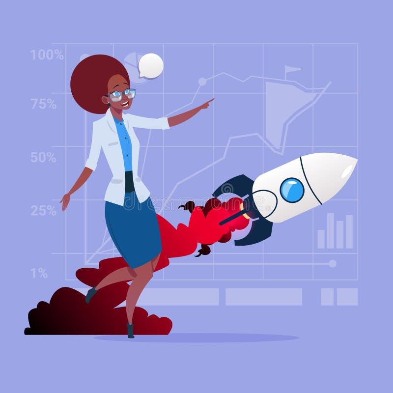 Afrikaanse Amerikaanse Bedrijfsvrouw die in Vliegend Rocket New Startup Strategy Concept bekijken vector illustratie