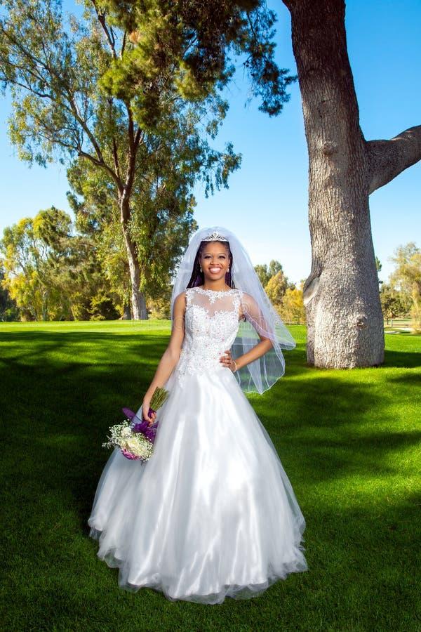 Afrikaanse Amerikaanse Bruid Volledige Lengte royalty-vrije stock afbeeldingen