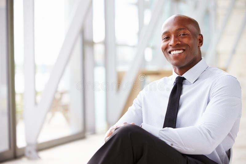Afrikaanse Amerikaanse collectieve zakenman, horizontaal portret stock foto's