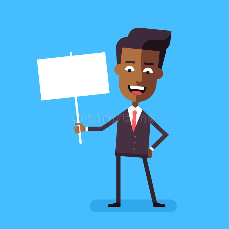 Afrikaanse Amerikaanse de bannervector van de zakenmanholding stock illustratie