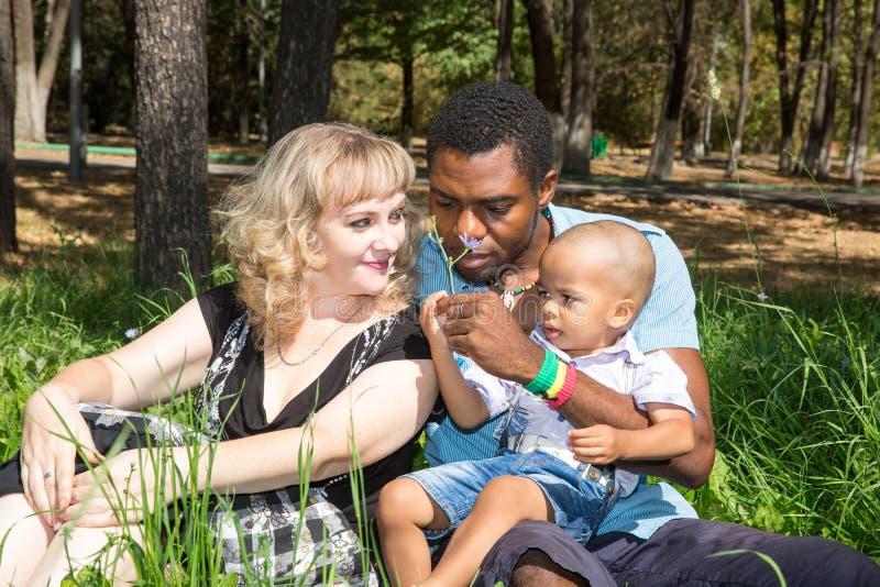 Afrikaanse Amerikaanse gelukkige familie: zwarte vader, mamma en babyjongen op aard royalty-vrije stock foto
